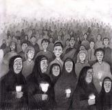 Pregando dall'indicatore luminoso della candela a Lourdes, la Francia Immagine Stock Libera da Diritti