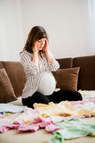 Pregant woman with headache Stock Photo