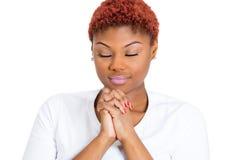 Pregare della donna Fotografie Stock
