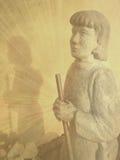 Pregare la statua del pellegrino Fotografia Stock Libera da Diritti