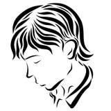 Pregare, triste, o giovane di riposo illustrazione di stock