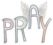 Preghi la parola religiosa di frase dell'acquerello di tipografia con le ali Fotografia Stock