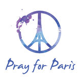 """Preghi per illustrazione del †di Parigi """"di un simbolo con pregare le mani, la torre Eiffel ed il simbolo per pace Immagini Stock Libere da Diritti"""