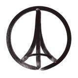 """Preghi per illustrazione del †di Parigi """"di un simbolo con pregare le mani, la torre Eiffel ed il simbolo per pace Fotografie Stock"""