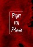 Preghi per Parigi, il 13 novembre 2015 watercolor Immagini Stock Libere da Diritti