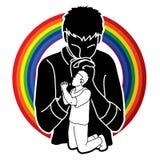 Preghiera, cristiano che prega, elogio Dio, grafico del fumetto di culto illustrazione di stock