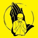 Preghiera, cristiano che prega, elogio Dio, grafico del fumetto di culto illustrazione vettoriale
