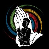 Preghiera, cristiano che prega, elogio Dio, grafico del fumetto di culto royalty illustrazione gratis