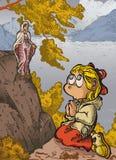 Preghiera del bambino all'aperto illustrazione vettoriale