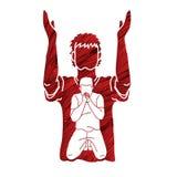 Preghiera dell'uomo, elogio al signore royalty illustrazione gratis
