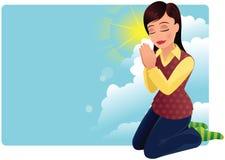 Preghiera della giovane donna illustrazione di stock