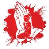 Preghiera della ragazza, cristiano che prega, elogio Dio, fumetto di culto illustrazione vettoriale