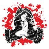 Preghiera della ragazza, cristiano che prega, elogio Dio, grafico del fumetto di culto illustrazione vettoriale