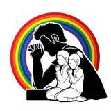 Preghiera della ragazza e del ragazzo, cristiano che prega, elogio Dio, grafico del fumetto di culto illustrazione di stock