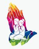 Preghiera della ragazza e del ragazzo, pregare cristiano, elogio Dio royalty illustrazione gratis