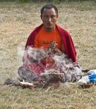 Preghiera della rana pescatrice buddista Fotografia Stock