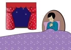 Preghiera di ora di andare a letto Immagini Stock Libere da Diritti