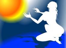 Preghiera naturale della donna Immagine Stock