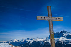 Preghiera per lo sciatore Fotografie Stock