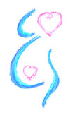 Pregnancy. Coloured concept of pregnancy - out line of woman body and two hearts Stock Photography