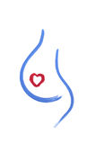 Pregnancy. Coloured concept of pregnancy - out line of womans belly and a heart Stock Photos