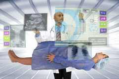 Pregnancy. Pregnant woman and doctor with digital screen Stock Photo