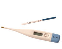 Pregnancy. Test on pregnancy and thermometer Stock Photos