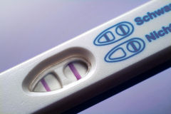 Pregnancy. Positive pregnancy test on blue background stock image