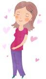 Pregnancy. Pretty pretty pregnant woman illustration Stock Photos