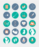 Pregnancy and birth icons set Royalty Free Stock Photography