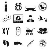 Pregnancy black simple icons set Royalty Free Stock Photo