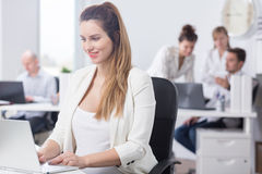 Pregnancy and career in corporation. Picture of pregnancy and career in business corporation Stock Image