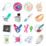 Pregnancy cartoon icons set Stock Images