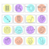 Pregnancy and childbirth. Vector line icons. Royalty Free Stock Photos