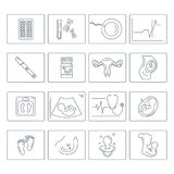 Pregnancy and childbirth. Vector line icons. Stock Image