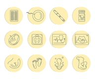 Pregnancy and childbirth. Vector line icons. Stock Photography