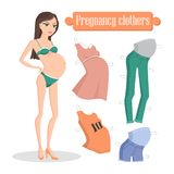 Pregnancy Clothers Banner, Vector Illustration. Pregnancy clothes banner vector illustration with young mom in green underwear comfortable elegant dress, orange Stock Photos