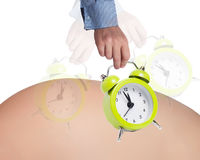 Pregnancy concept. Alarm clock and belly as pregnancy concept Stock Photo