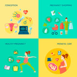 Pregnancy Concept Icons Set. With conception and prenatal care symbols flat  vector illustration Royalty Free Stock Image