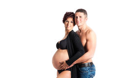 love and pregnancy- pregnant woman and husband Stock Photo