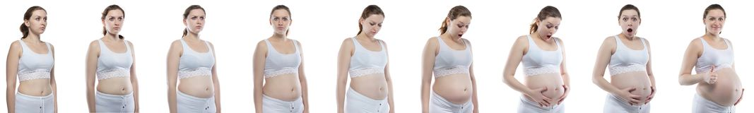 Pregnancy with different emotions. Caucasian woman during pregnancy with bare belly on white background stock photography