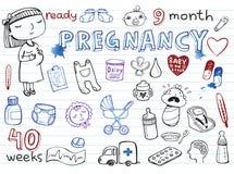 Pregnancy doodles set Stock Image