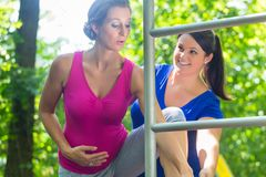 Pregnancy exercise sport at climbing frame with two women. In park stock photography