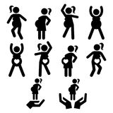 Pregnancy exercise, pregnancy yoga or pilates, pregnant woman doing fitness  icons set. Pregnant woman staying fit and healthy, exercising icons set, pregnancy Royalty Free Stock Photos
