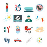 Pregnancy flat icons set Royalty Free Stock Photo