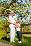 Pregnancy - girl touching belly of pregnant mother Royalty Free Stock Photo