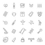 Pregnancy, gynecology, childbirth and motherhood line icons set Stock Images