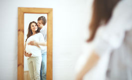 Pregnancy. happy family future parents pregnant mother and fathe Stock Images