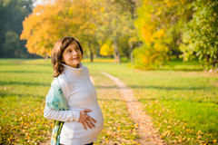 Pregnancy - happy woman in nature Stock Photography