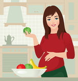Pregnancy and healthy food Royalty Free Stock Image